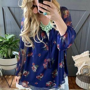 NWT Plus Size Blue Chiffon Floral Peasant Blouse